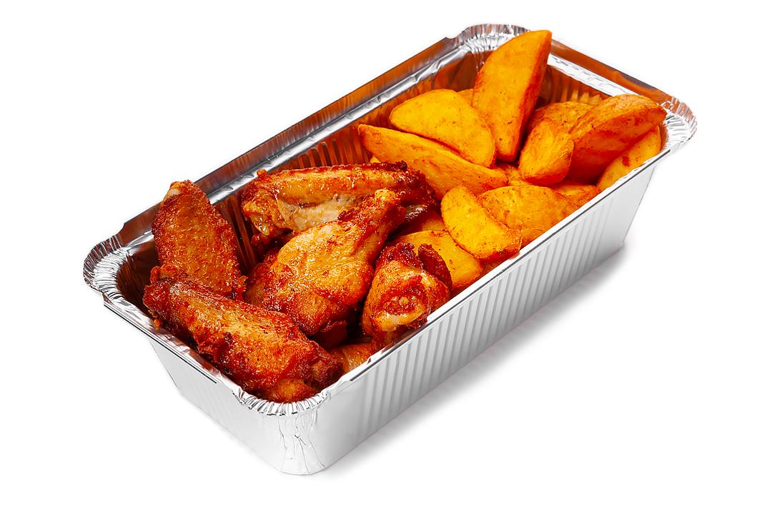 Крылья Барбекю и картофель из печи